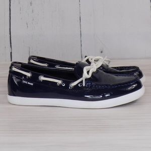 Cole Haan Nantucket Navy Patent Leather Camp Moc